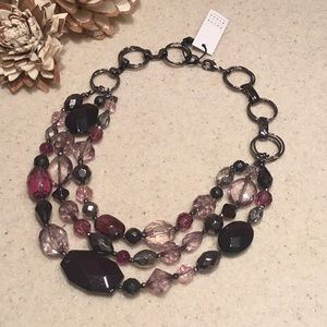 🆕WHBM PURPLE & GRAY TRIPLE STRAND NECKLACE